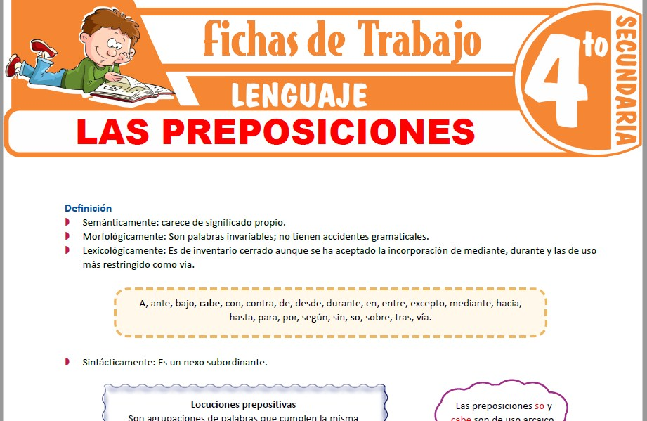 Modelos de la Ficha de Las preposiciones para Cuarto de Secundaria
