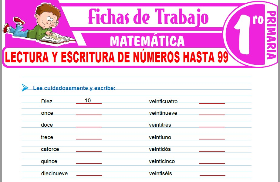 Modelos de la Ficha de Lectura y escritura de números hasta 99 para Primero de Primaria