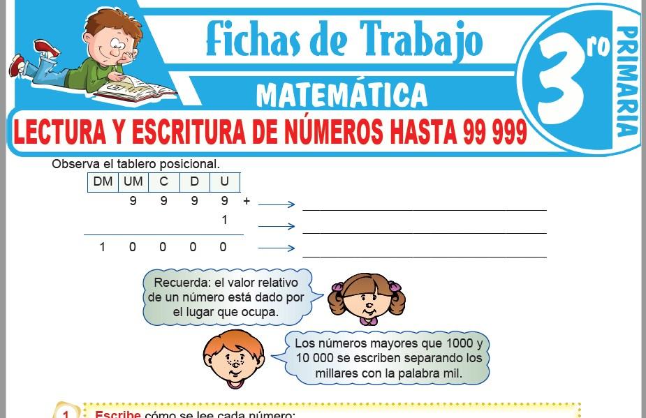 Modelos de la Ficha de Lectura y escritura de números hasta 99 999 para Tercero de Primaria