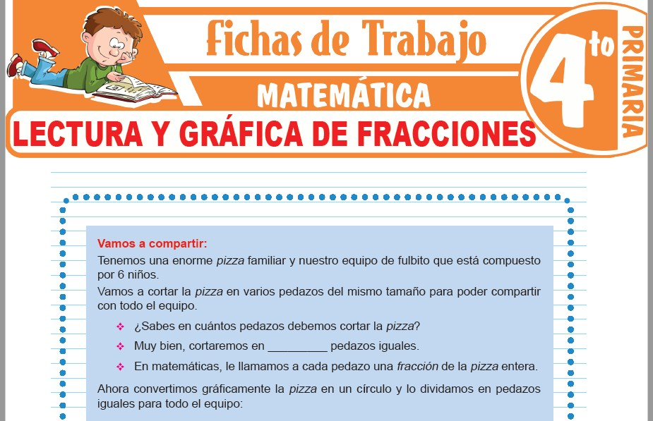 Modelos de la Ficha de Lectura y gráfica de fracciones para Cuarto de Primaria