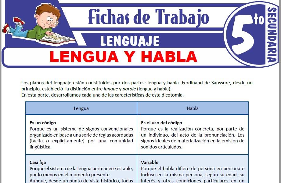 Modelos de la Ficha de Lengua y habla para Quinto de Secundaria