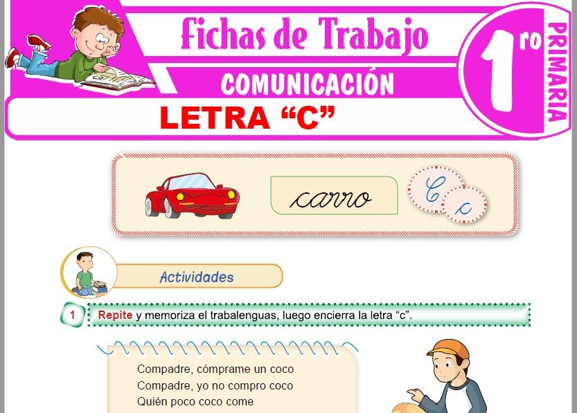 """Modelos de la Ficha de Letra """"C"""" para Primero de Primaria"""