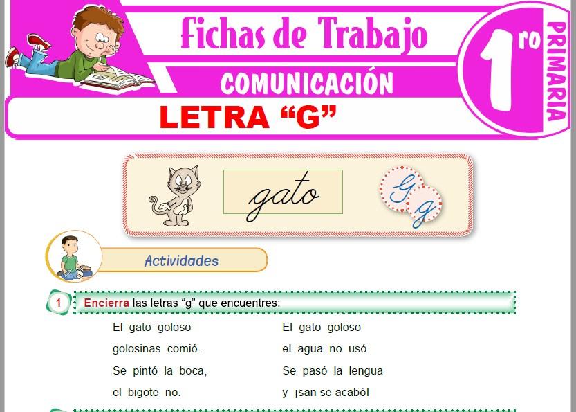 """Modelos de la Ficha de Letra """"G"""" para Primero de Primaria"""
