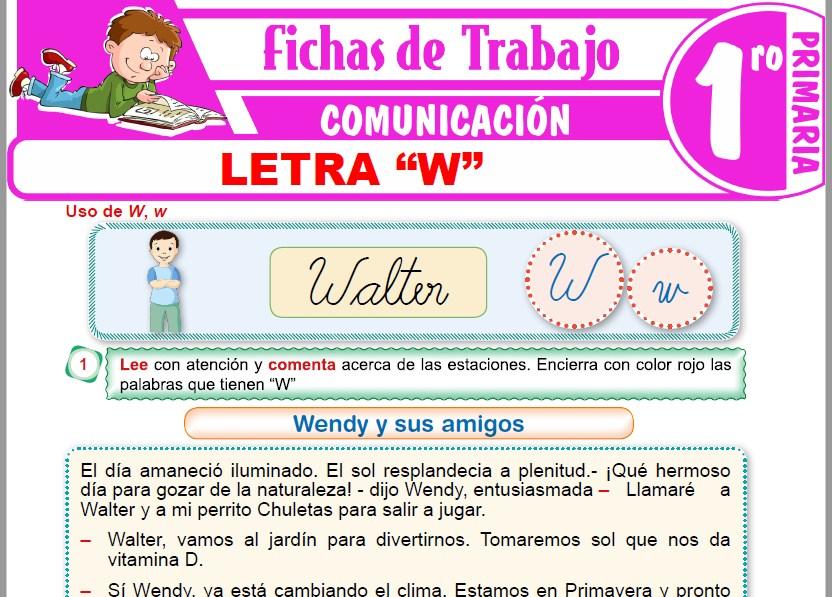 """Modelos de la Ficha de Letra """"W"""" para Primero de Primaria"""
