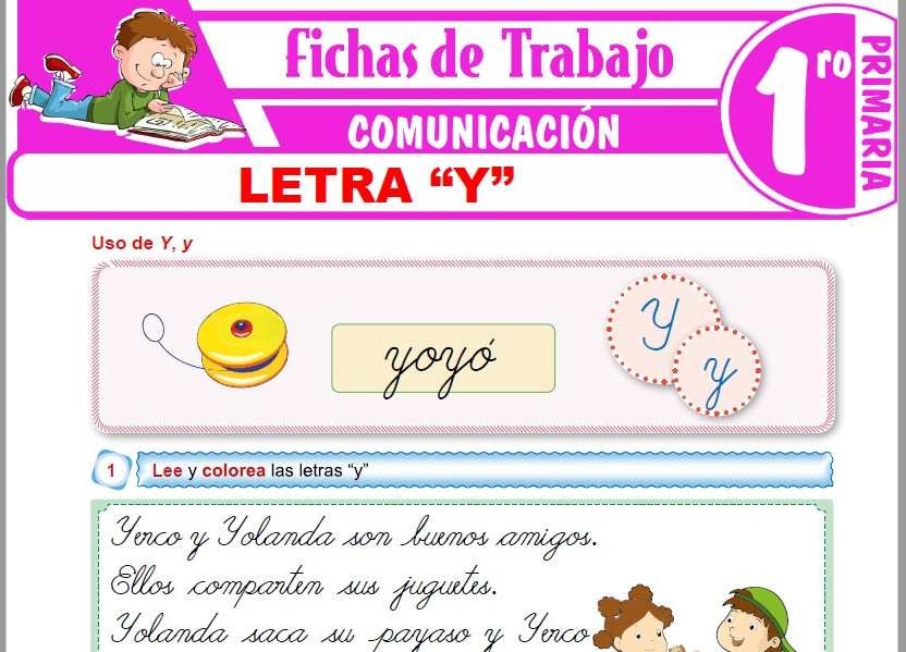 """Modelos de la Ficha de Letra """"Y"""" para Primero de Primaria"""