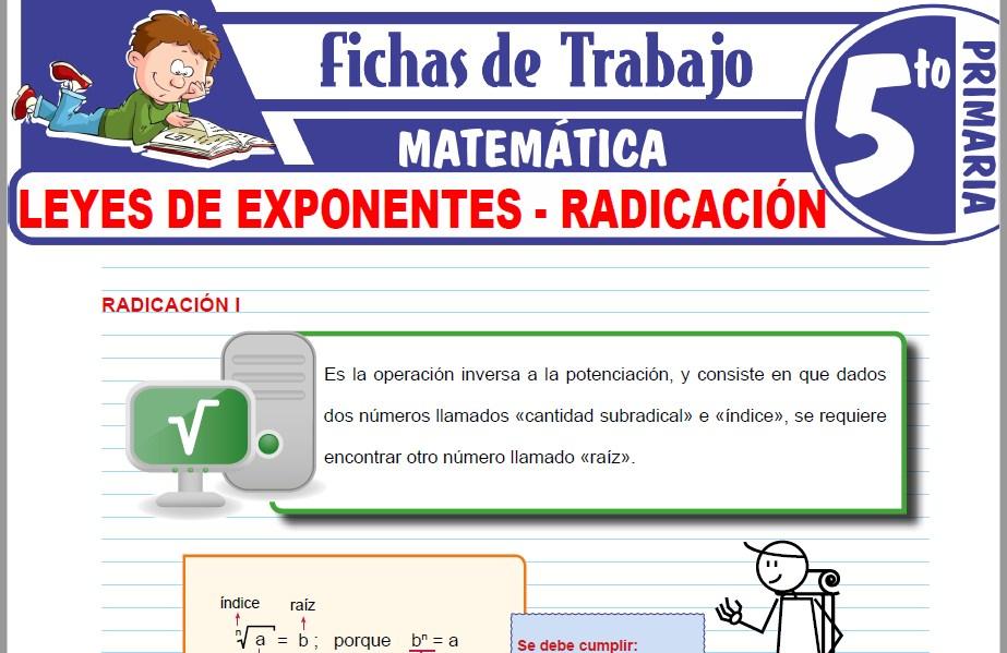 Modelos de la Ficha de Leyes de exponentes - Radicación para Quinto de Primaria