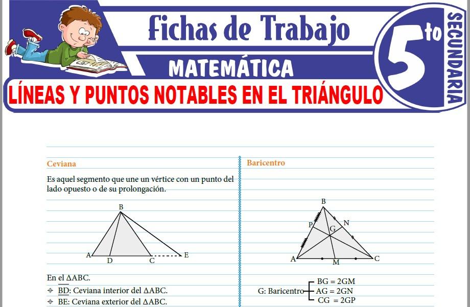 Modelos de la Ficha de Líneas y puntos notables en el triángulo para Quinto de Secundaria