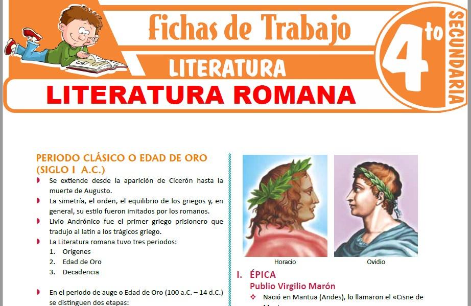 Modelos de la Ficha de Literatura Romana para Cuarto de Secundaria