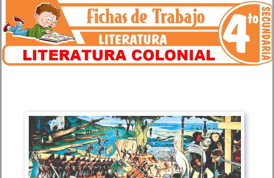Modelos de la Ficha de Literatura colonial para Cuarto de Secundaria