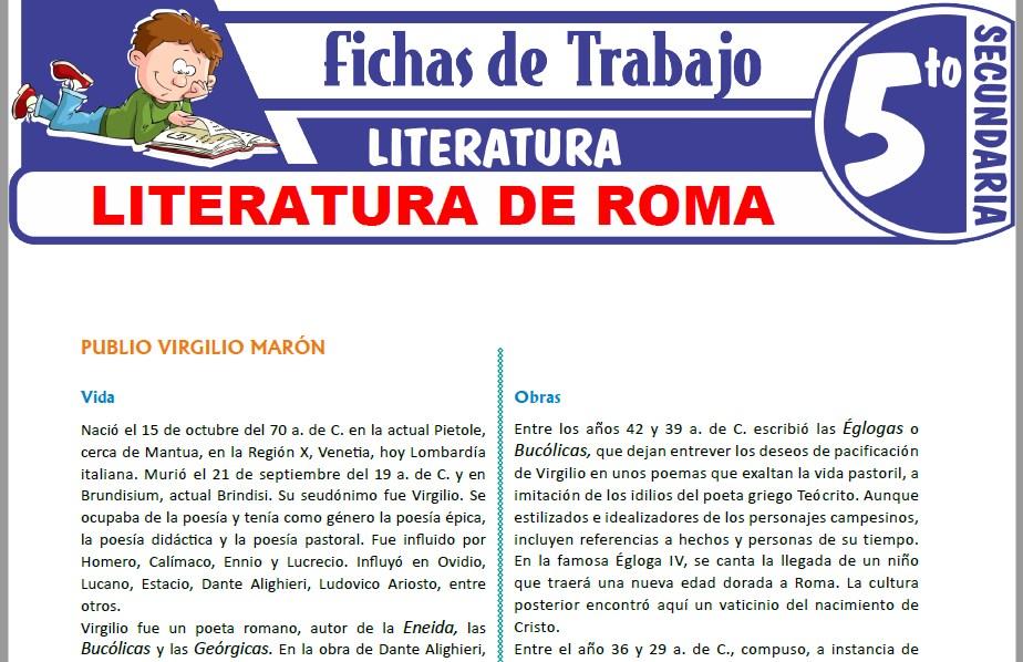 Modelos de la Ficha de Literatura de Roma para Quinto de Secundaria