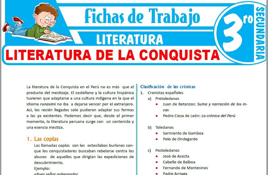 Modelos de la Ficha de Literatura de la conquista para Tercero de Secundaria