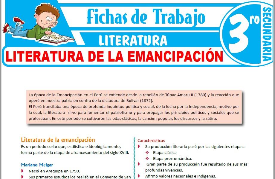 Modelos de la Ficha de Literatura de la emancipación para Tercero de Secundaria
