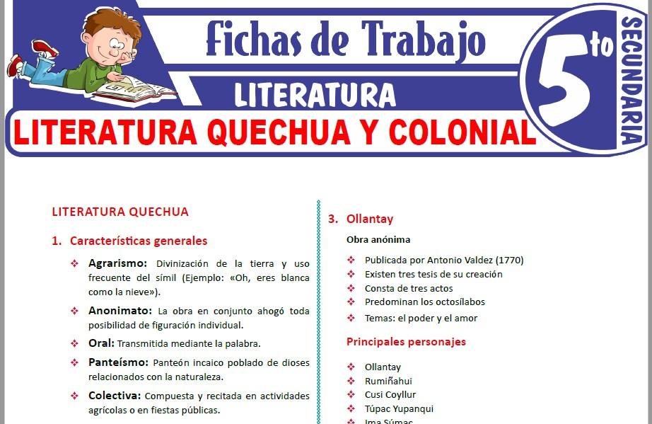 Modelos de la Ficha de Literatura quechua y colonial para Quinto de Secundaria