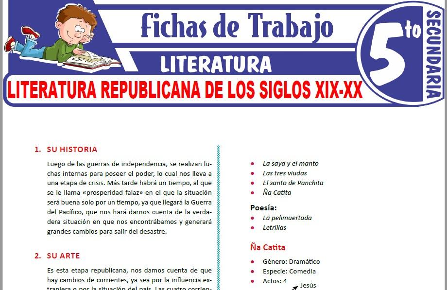 Modelos de la Ficha de Literatura republicana de los siglos XIX-XX para Quinto de Secundaria