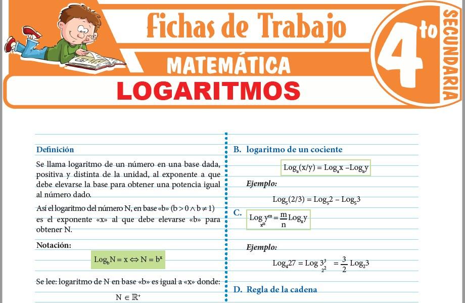Modelos de la Ficha de Logaritmos para Cuarto de Secundaria