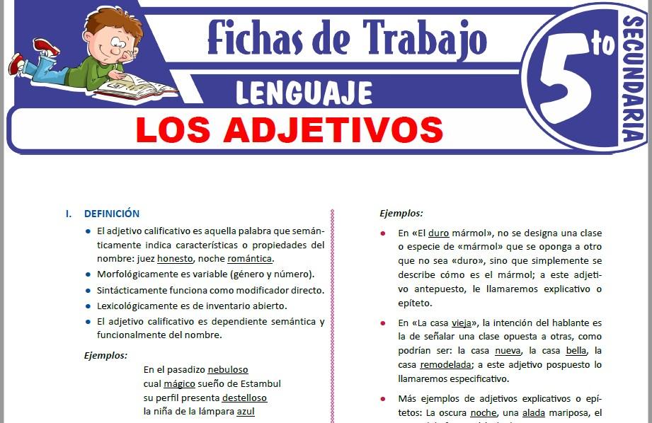 Modelos de la Ficha de Los adjetivos para Quinto de Secundaria