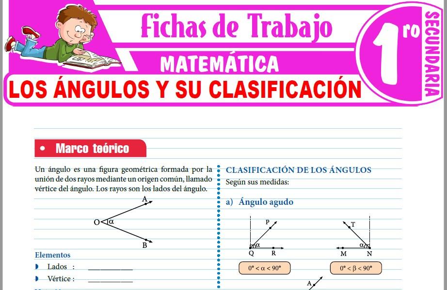 Modelos de la Ficha de Los ángulos y su clasificación para Primero de Secundaria