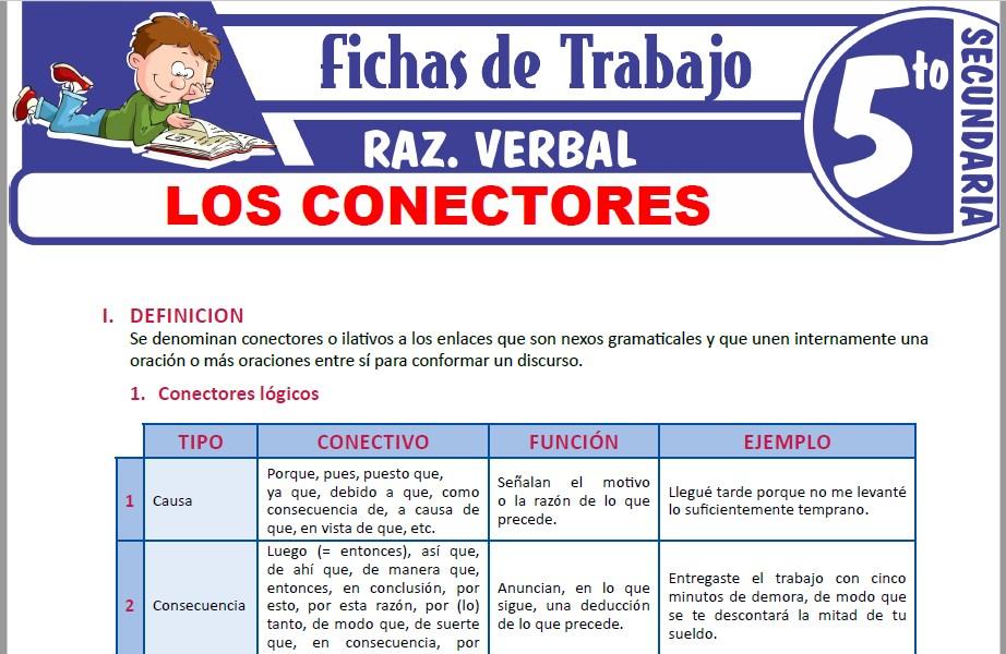 Modelos de la Ficha de Los conectores para Quinto de Secundaria