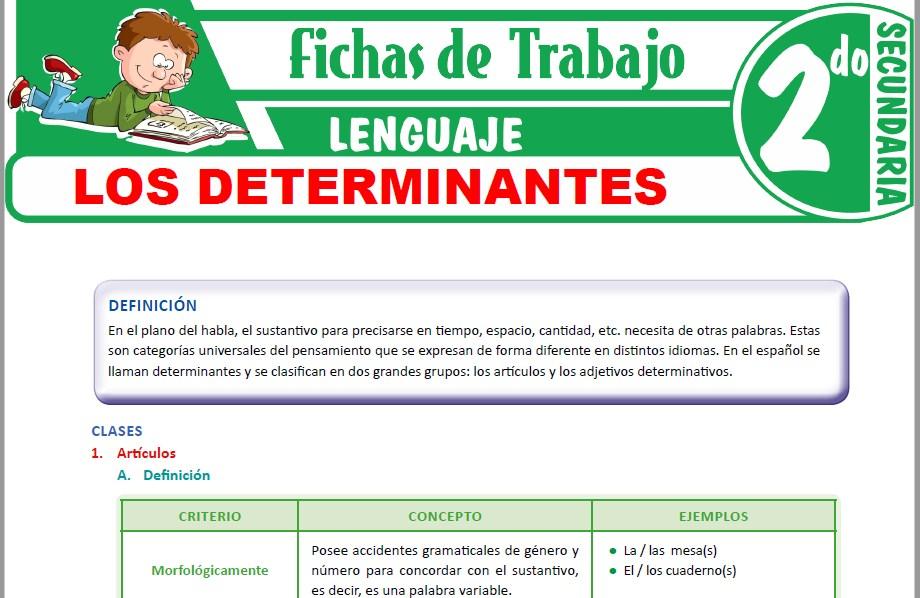 Modelos de la Ficha de Los determinantes para Segundo de Secundaria
