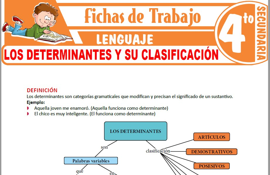 Modelos de la Ficha de Los determinantes y su clasificación para Cuarto de Secundaria