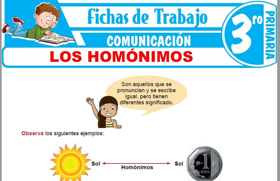 Modelos de la Ficha de Los homónimos para Tercero de Primaria