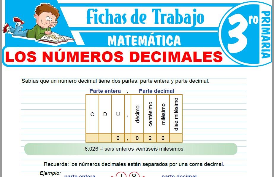 Modelos de la Ficha de Los números decimales para Tercero de Primaria
