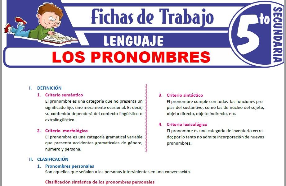 Modelos de la Ficha de Los verbos para Quinto de Secundaria
