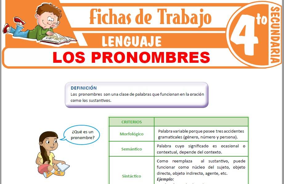 Modelos de la Ficha de Los pronombres y su clasificación para Cuarto de Secundaria