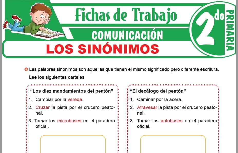 Modelos de la Ficha de Los sinónimos para Segundo de Primaria