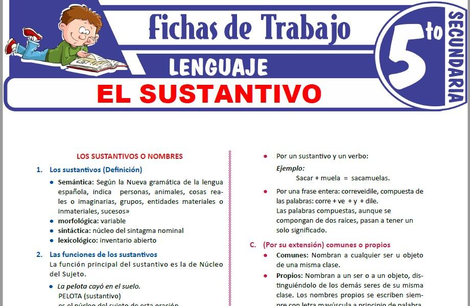 Modelos de la Ficha de Los sustantivos para Quinto de Secundaria