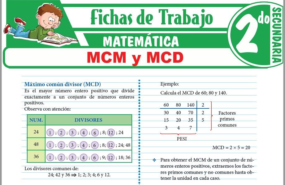 Modelos de la Ficha de MCM y MCD para Segundo de Secundaria