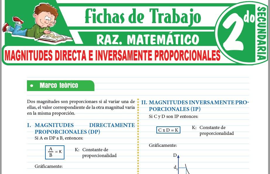 Modelos de la Ficha de Magnitudes directa e inversamente proporcionales para Segundo de Secundaria