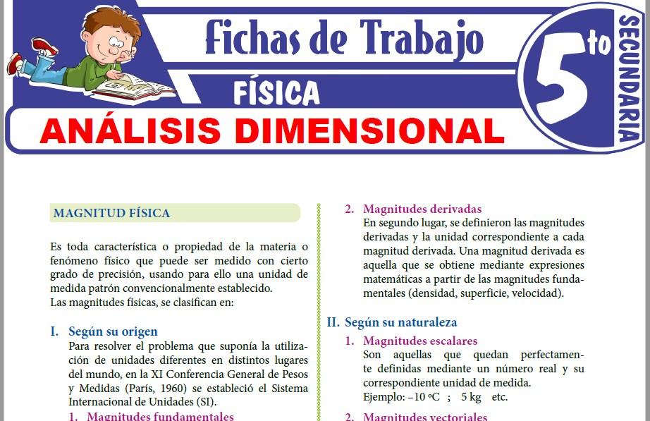 Modelos de la Ficha de Magnitudes físicas y Análisis dimensional para Quinto de Secundaria