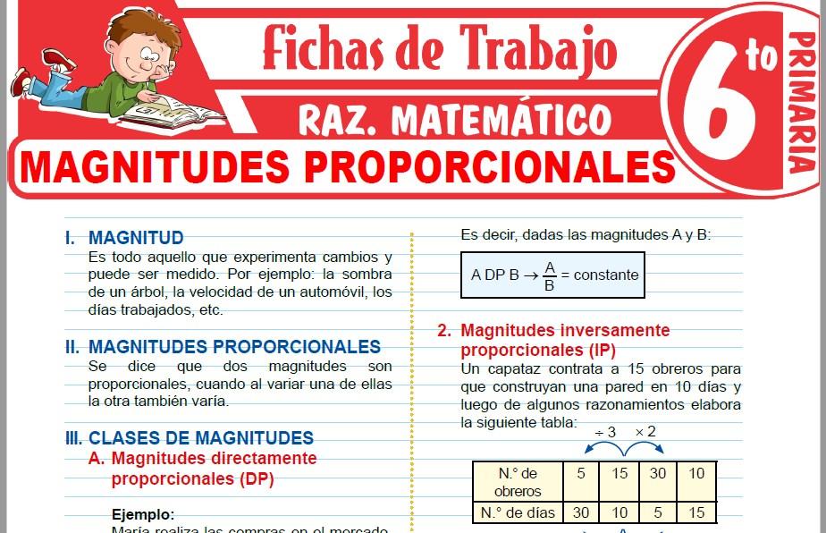Modelos de la Ficha de Magnitudes proporcionales para Sexto de Primaria