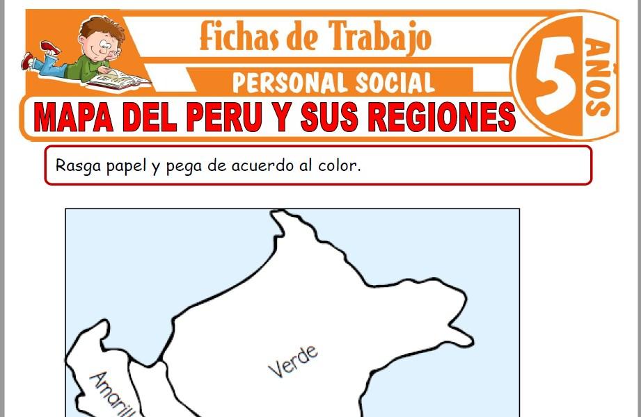 Modelos de la Ficha de Mapa del Perú y sus regiones para Niños de Cinco Años