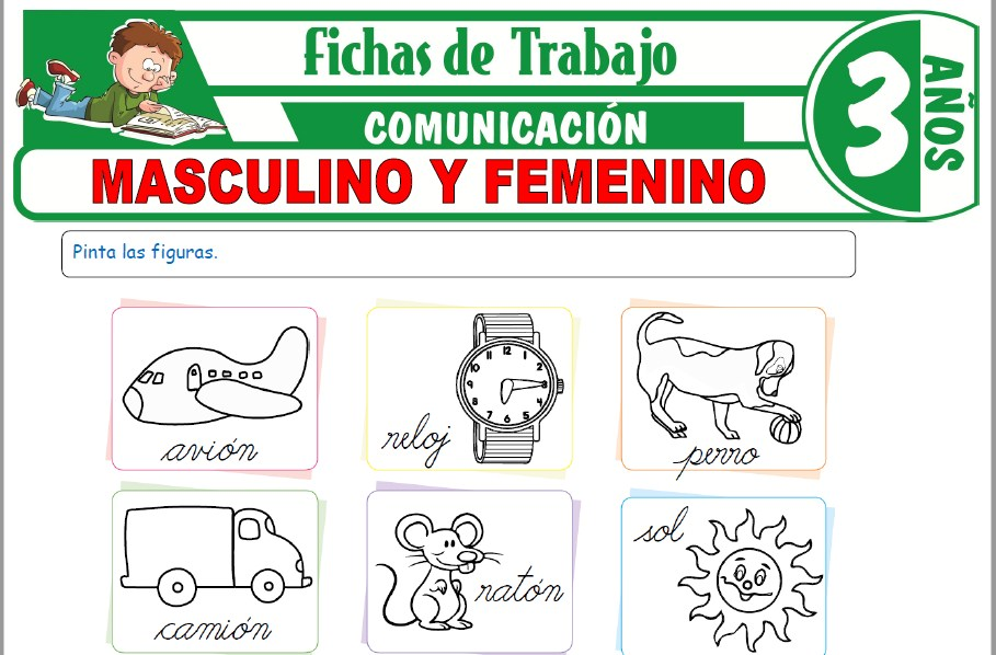 Modelos de la Ficha de Masculino y femenino para Niños de Tres Años