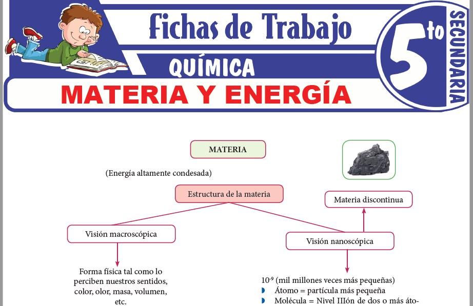 Modelos de la Ficha de Materia y energía para Quinto de Secundaria