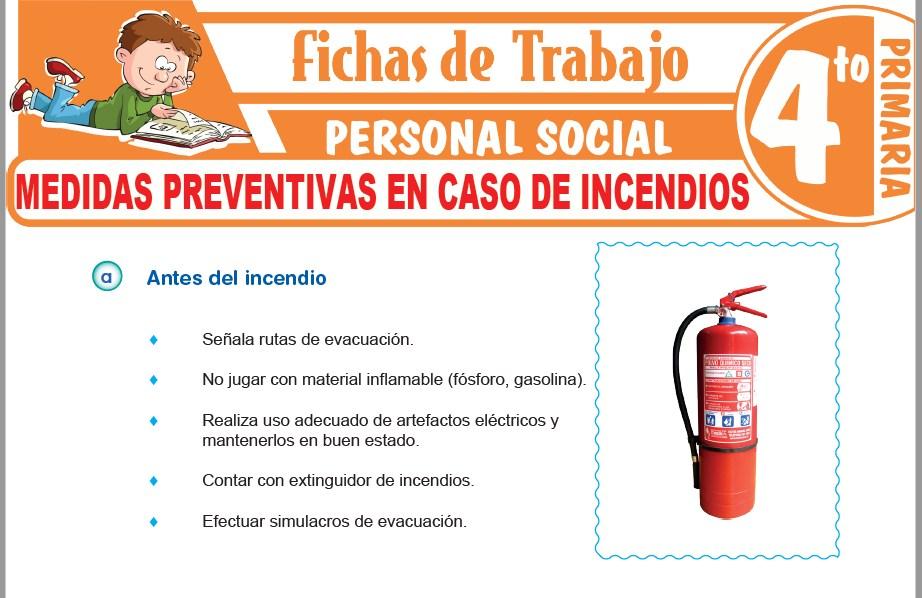 Modelos de la Ficha de Medidas preventivas en caso de incendios para Cuarto de Primaria