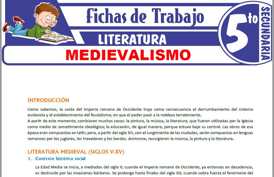 Modelos de la Ficha de Medievalismo para Quinto de Secundaria