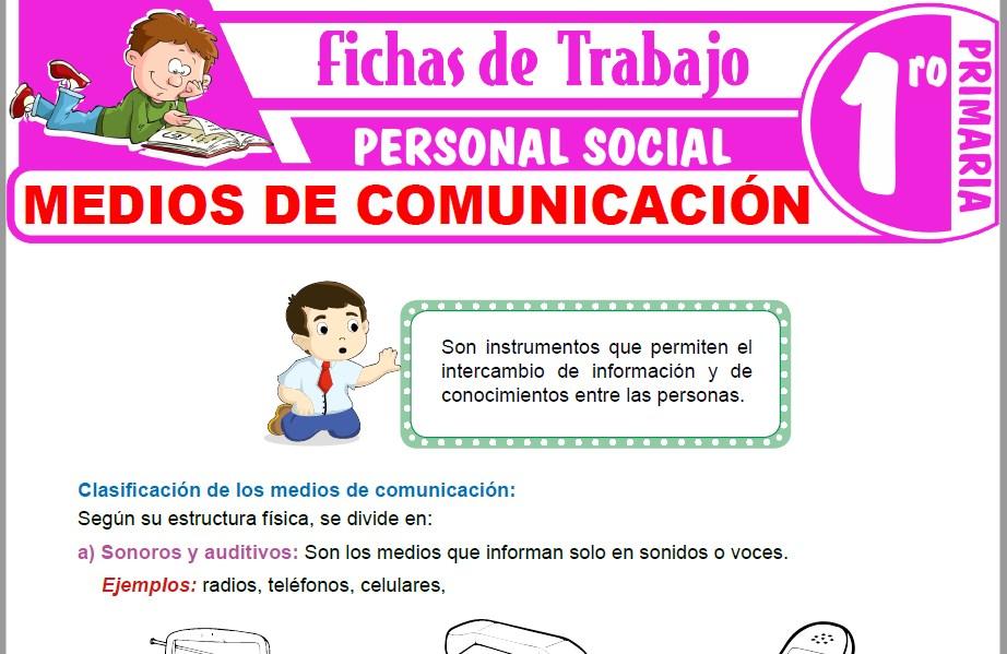 Modelos de la Ficha de Medios de comunicación para Primero de Primaria