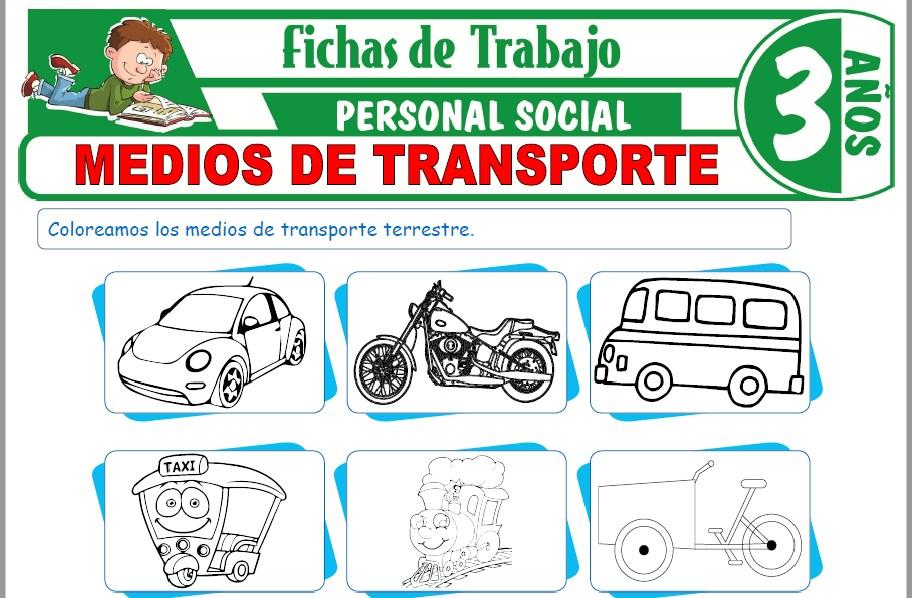 Modelos de la Ficha de Medios de transporte para Niños de Tres Años