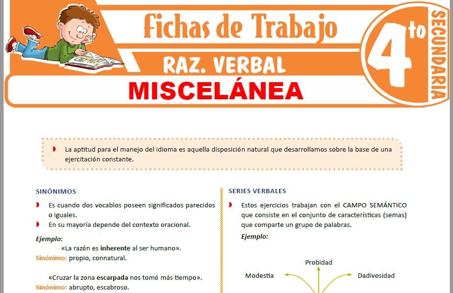 Modelos de la Ficha de Miscelánea para Cuarto de Secundaria