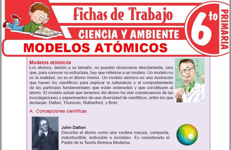 Modelos de la Ficha de Modelos atómicos para Sexto de Primaria