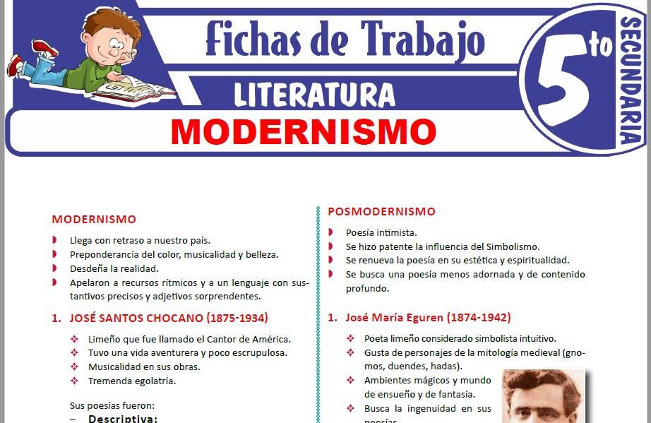 Modelos de la Ficha de Modernismo para Quinto de Secundaria