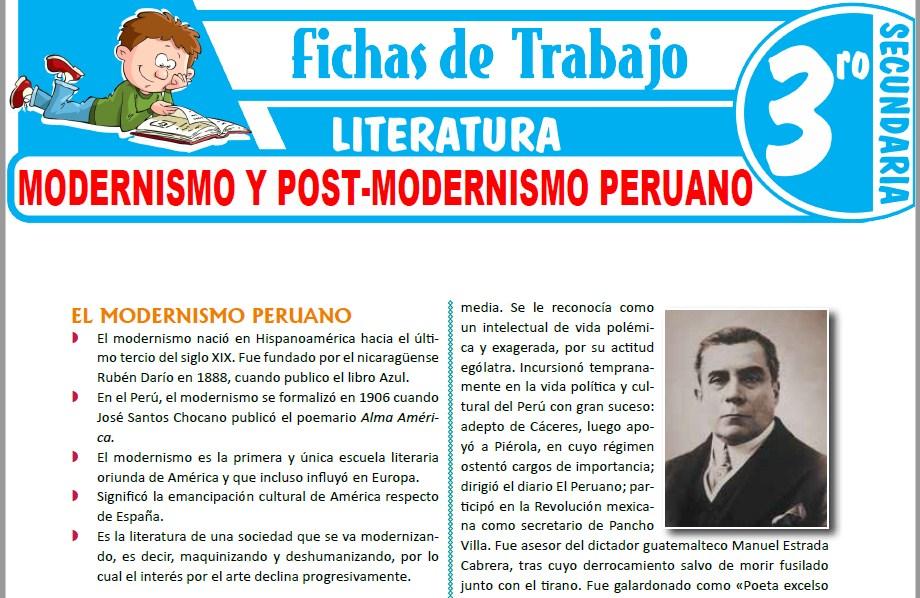 Modelos de la Ficha de Modernismo y Post-modernismo peruano para Tercero de Secundaria