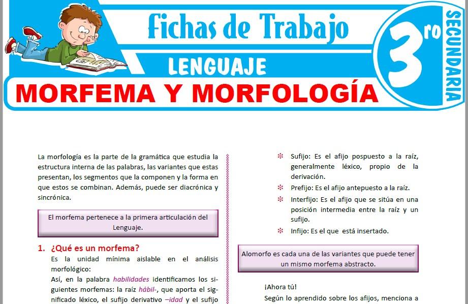 Modelos de la Ficha de Morfema y morfología para Tercero de Secundaria