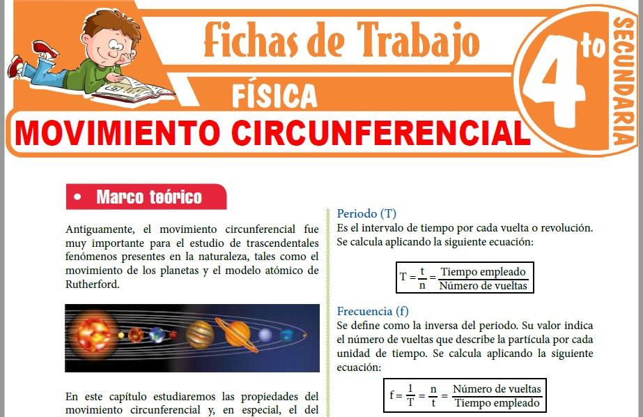 Modelos de la Ficha de Movimiento Circunferencial para Cuarto de Secundaria
