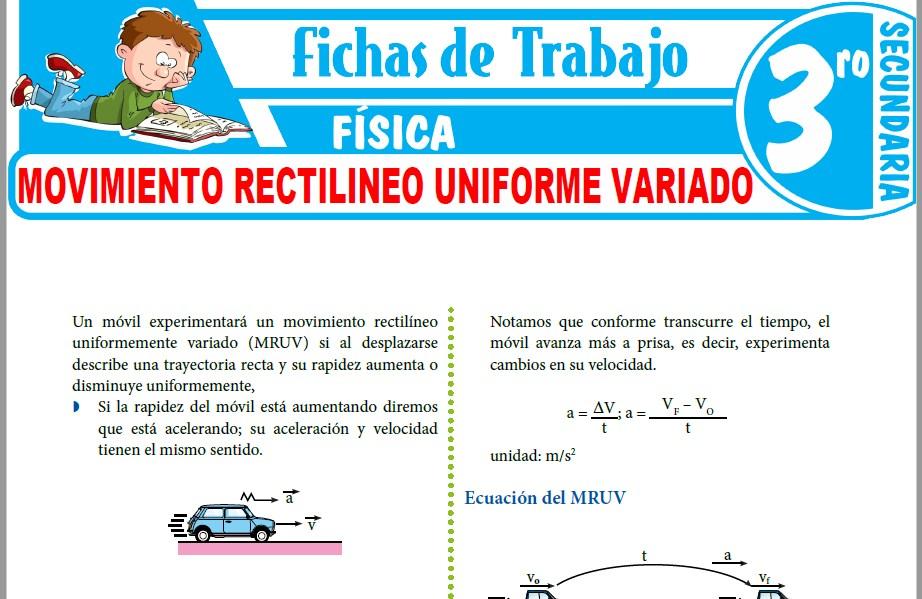 Modelos de la Ficha de Movimiento Rectilineo Uniforme Variado para Tercero de Secundaria