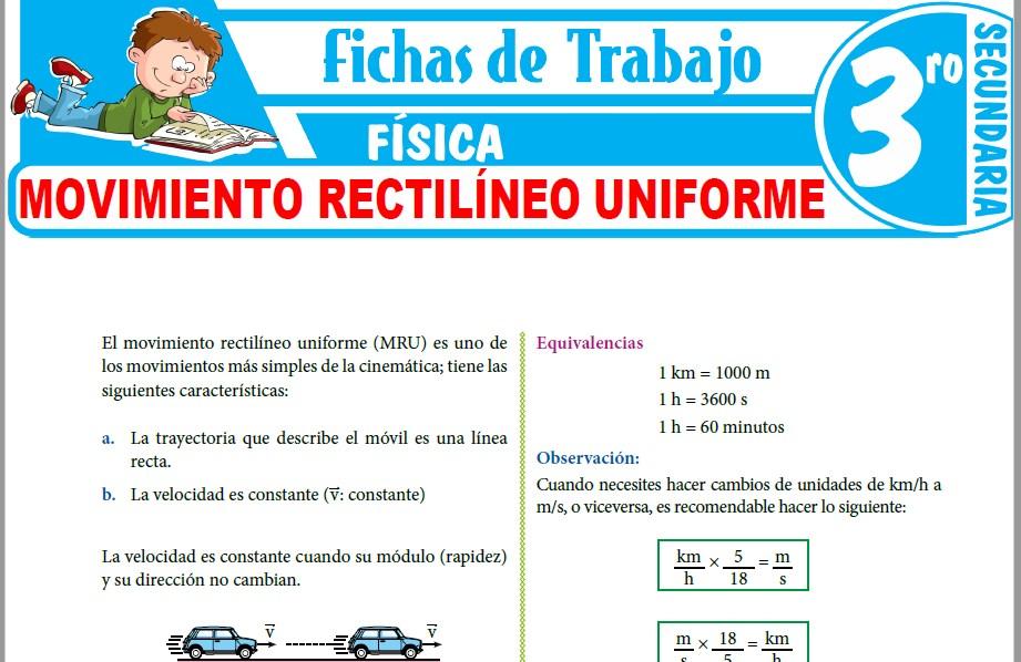 Modelos de la Ficha de Movimiento Rectilíneo Uniforme para Tercero de Secundaria