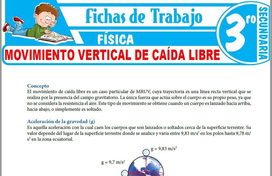 Modelos de la Ficha de Movimiento Vertical de Caída Libre para Tercero de Secundaria